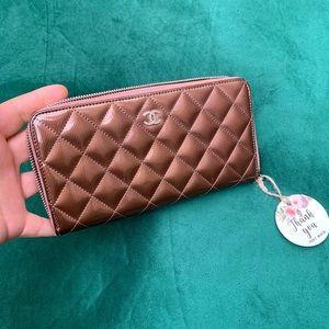 Authentic CHANEL Matelasse Bronze Leather Wallet